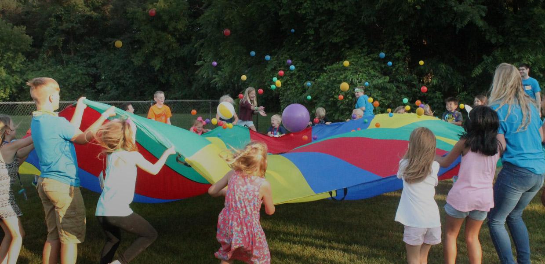 blythefield fellowship banner children playing